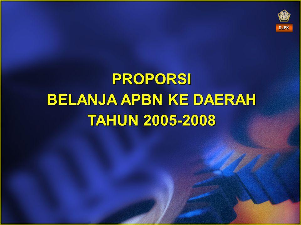 PROPORSI BELANJA APBN KE DAERAH TAHUN 2005-2008 DJPK