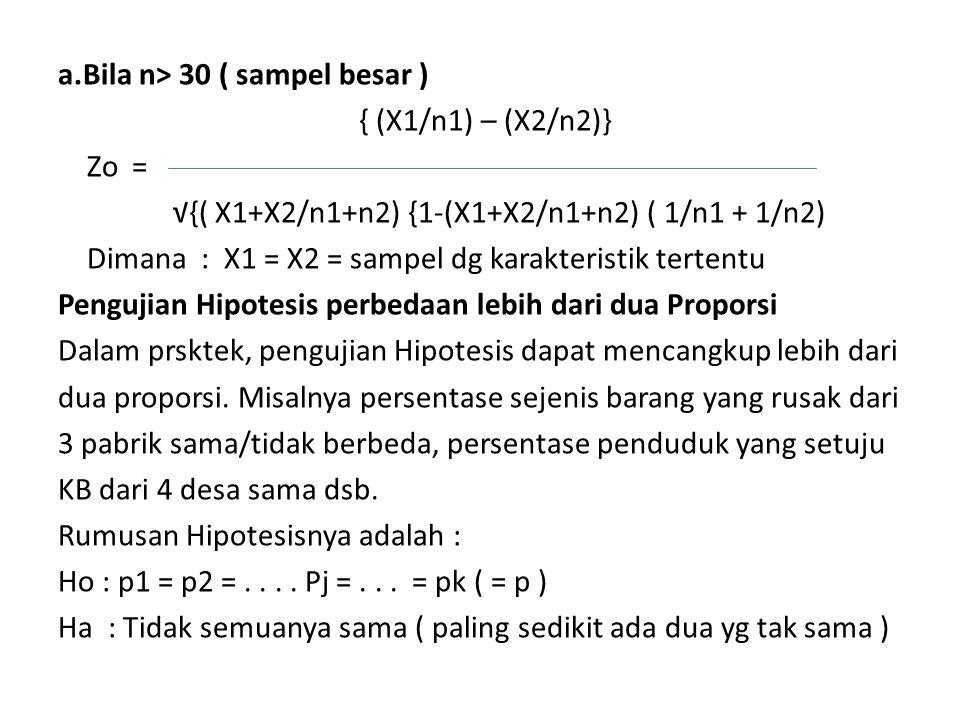 a.Bila n> 30 ( sampel besar ) { (X1/n1) – (X2/n2)} Zo = √{( X1+X2/n1+n2) {1-(X1+X2/n1+n2) ( 1/n1 + 1/n2) Dimana : X1 = X2 = sampel dg karakteristik te