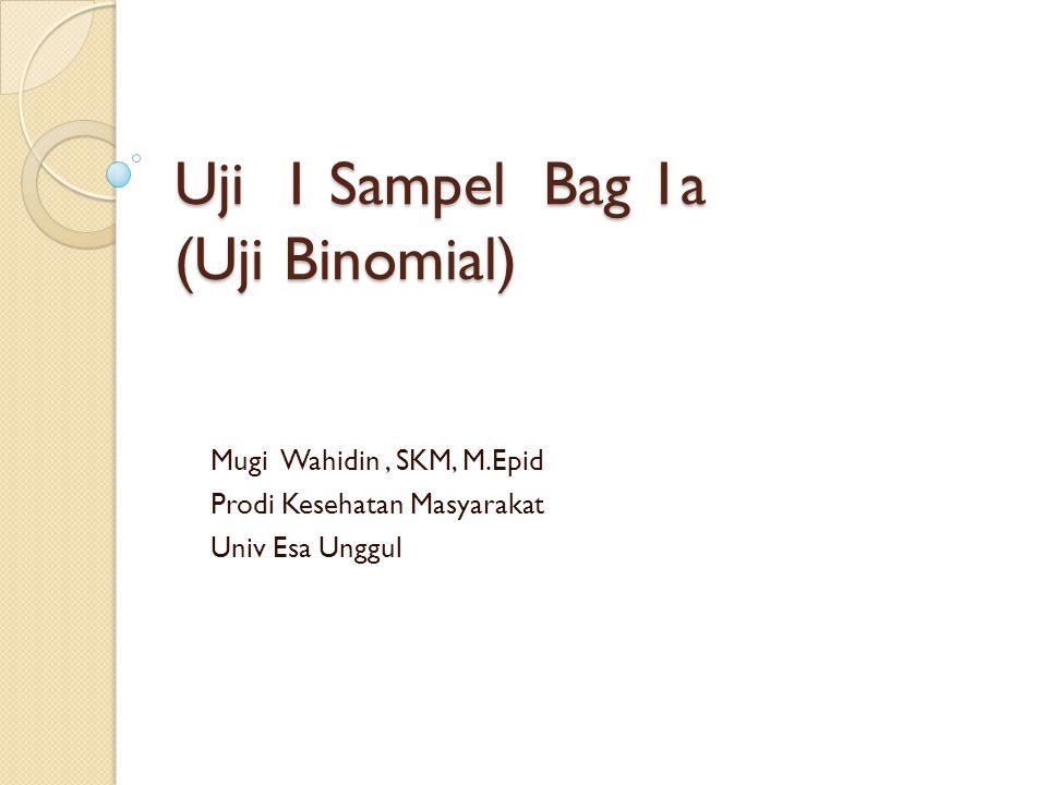 Pokok Bahasan Pengertian dan Penggunaan Uji 1 Sampel Pengertian dan Penggunaan Uji Binomial Contoh Kasus Step di SPSS
