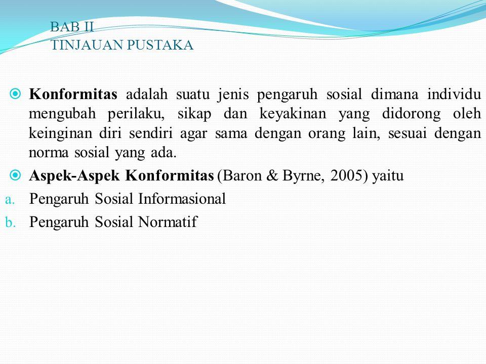 BAB II TINJAUAN PUSTAKA  Konformitas adalah suatu jenis pengaruh sosial dimana individu mengubah perilaku, sikap dan keyakinan yang didorong oleh kei