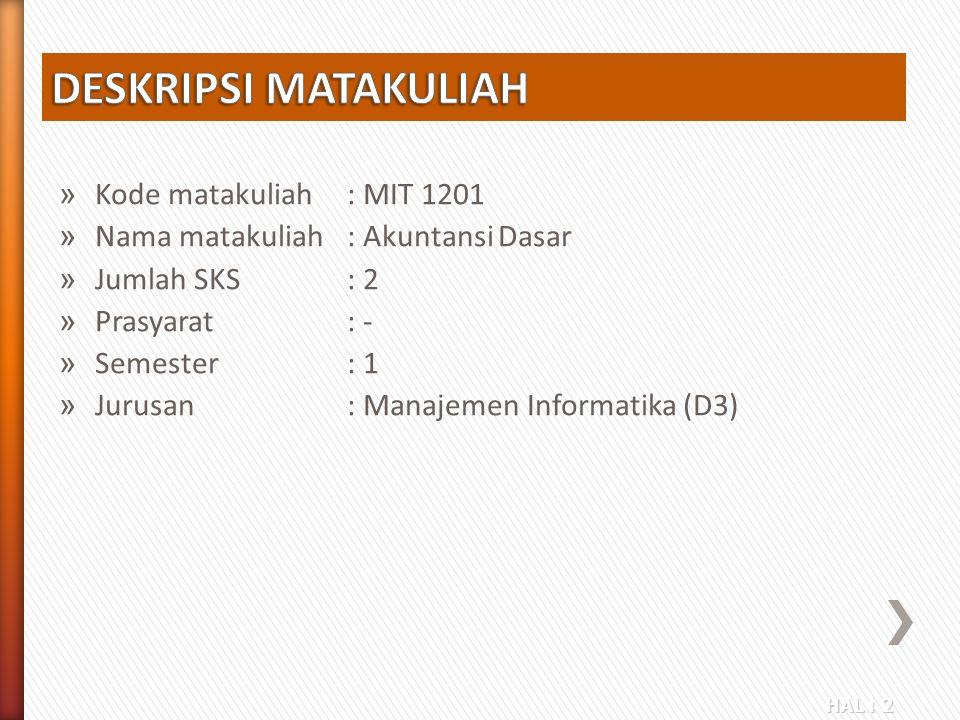 HAL : 2 » Kode matakuliah: MIT 1201 » Nama matakuliah: Akuntansi Dasar » Jumlah SKS: 2 » Prasyarat: - » Semester: 1 » Jurusan: Manajemen Informatika (