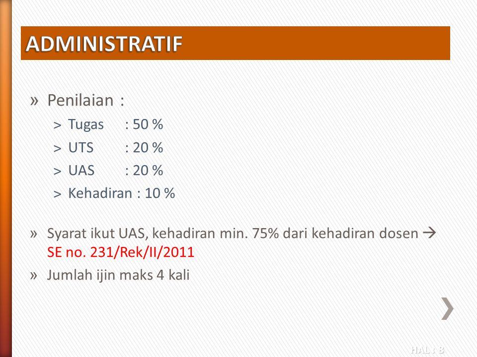 HAL : 8 » Penilaian : ˃Tugas: 50 % ˃UTS: 20 % ˃UAS: 20 % ˃Kehadiran : 10 % » Syarat ikut UAS, kehadiran min. 75% dari kehadiran dosen  SE no. 231/Rek