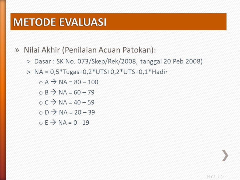 HAL : 9 » Nilai Akhir (Penilaian Acuan Patokan): ˃Dasar : SK No. 073/Skep/Rek/2008, tanggal 20 Peb 2008) ˃NA = 0,5*Tugas+0,2*UTS+0,2*UTS+0,1*Hadir o A