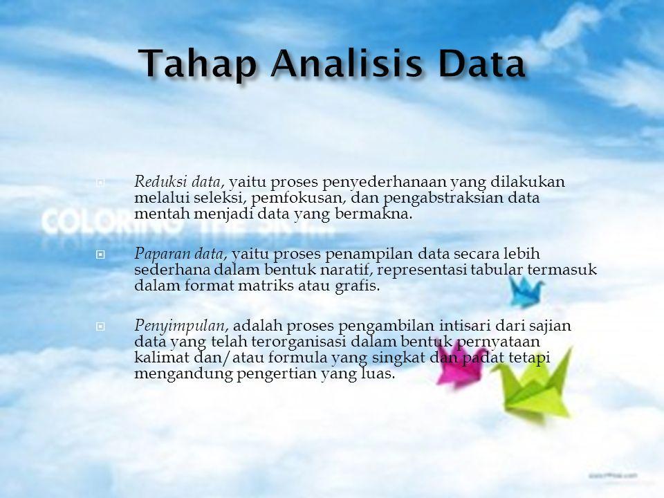  Reduksi data, yaitu proses penyederhanaan yang dilakukan melalui seleksi, pemfokusan, dan pengabstraksian data mentah menjadi data yang bermakna.
