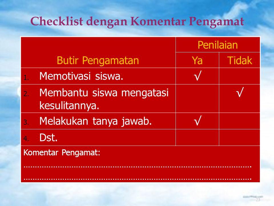 23 Checklist dengan Komentar Pengamat Butir Pengamatan Penilaian YaTidak 1.
