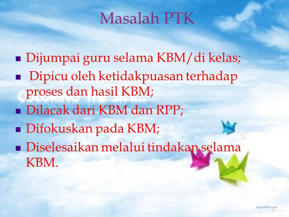 3 Masalah PTK Dijumpai guru selama KBM/di kelas; Dipicu oleh ketidakpuasan terhadap proses dan hasil KBM; Dilacak dari KBM dan RPP; Difokuskan pada KBM; Diselesaikan melalui tindakan selama KBM.