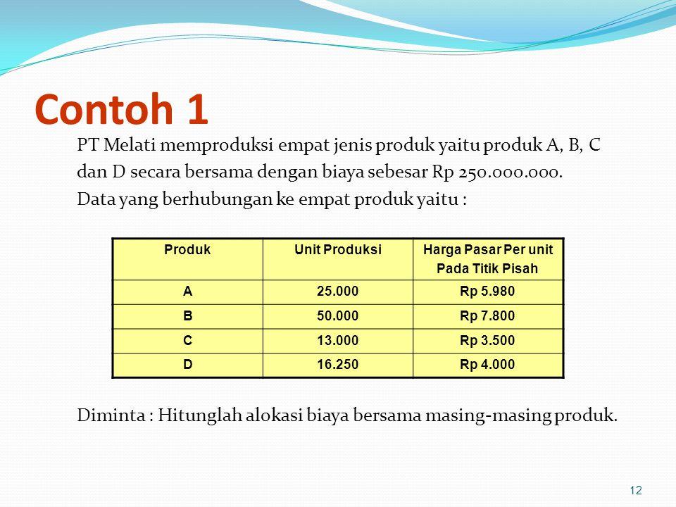 12 Contoh 1 PT Melati memproduksi empat jenis produk yaitu produk A, B, C dan D secara bersama dengan biaya sebesar Rp 250.000.000.