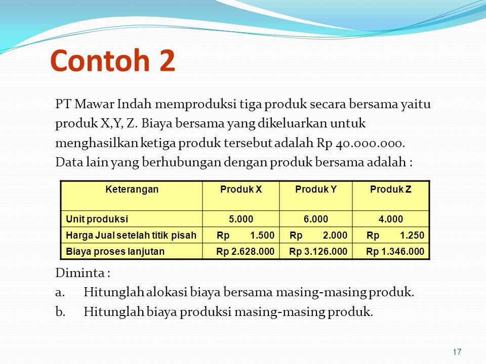 17 Contoh 2 PT Mawar Indah memproduksi tiga produk secara bersama yaitu produk X,Y, Z.