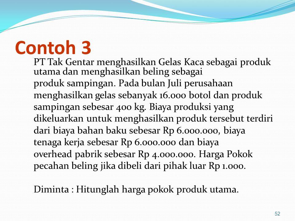 52 Contoh 3 PT Tak Gentar menghasilkan Gelas Kaca sebagai produk utama dan menghasilkan beling sebagai produk sampingan.