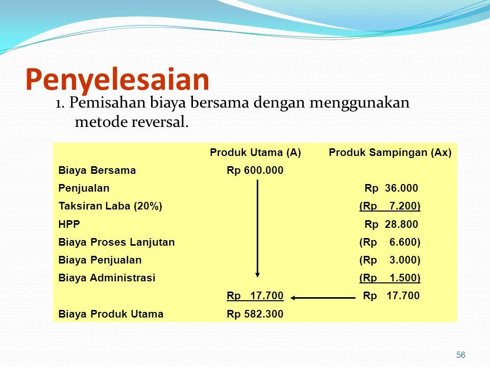 56 Penyelesaian 1.Pemisahan biaya bersama dengan menggunakan metode reversal.