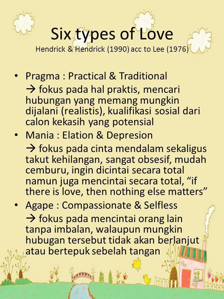 Six types of Love Hendrick & Hendrick (1990) acc to Lee (1976) Pragma : Practical & Traditional  fokus pada hal praktis, mencari hubungan yang memang