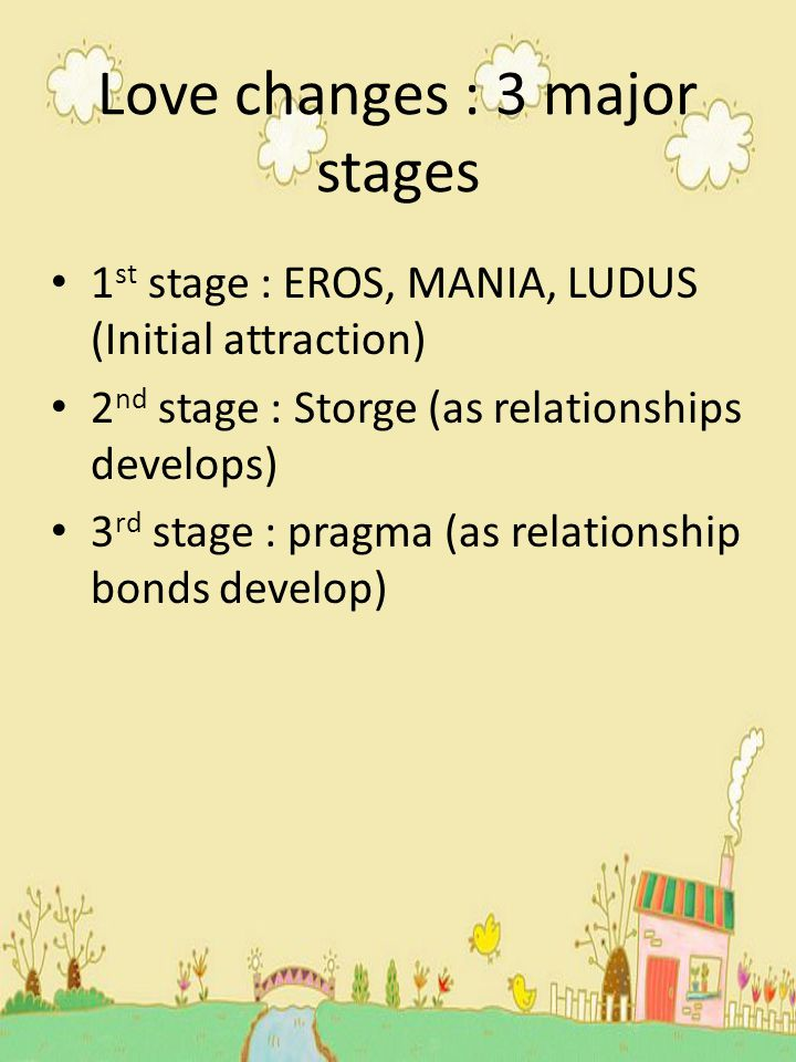 Love changes : 3 major stages 1 st stage : EROS, MANIA, LUDUS (Initial attraction) 2 nd stage : Storge (as relationships develops) 3 rd stage : pragma (as relationship bonds develop)