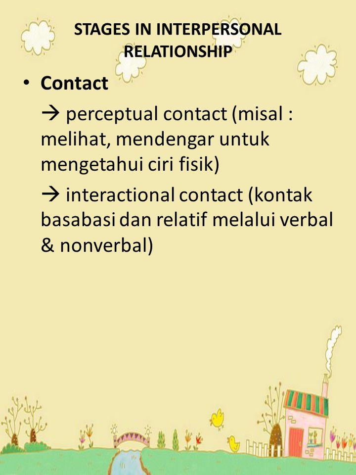 STAGES IN INTERPERSONAL RELATIONSHIP Contact  perceptual contact (misal : melihat, mendengar untuk mengetahui ciri fisik)  interactional contact (ko
