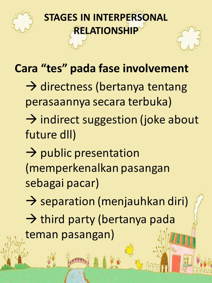 STAGES IN INTERPERSONAL RELATIONSHIP 3 main anxiety  security anxiety (ditinggalkan)  fulfillment anxiety (tidak puas)  excitement anxiety (kehilangan kebebasan) Intimacy  interpersonal commitment (commit themselves to each other in a private way)  personal bonding ( the commitment is made public)