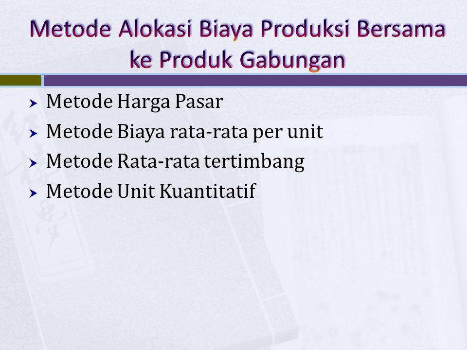  Metode Harga Pasar  Metode Biaya rata-rata per unit  Metode Rata-rata tertimbang  Metode Unit Kuantitatif