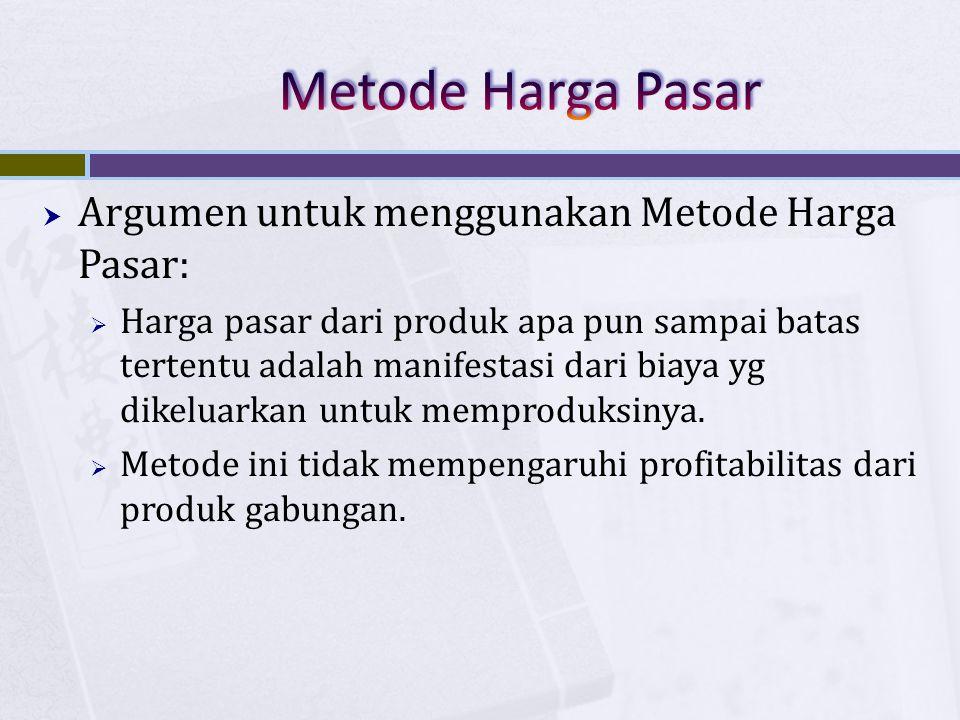  Argumen untuk menggunakan Metode Harga Pasar:  Harga pasar dari produk apa pun sampai batas tertentu adalah manifestasi dari biaya yg dikeluarkan u