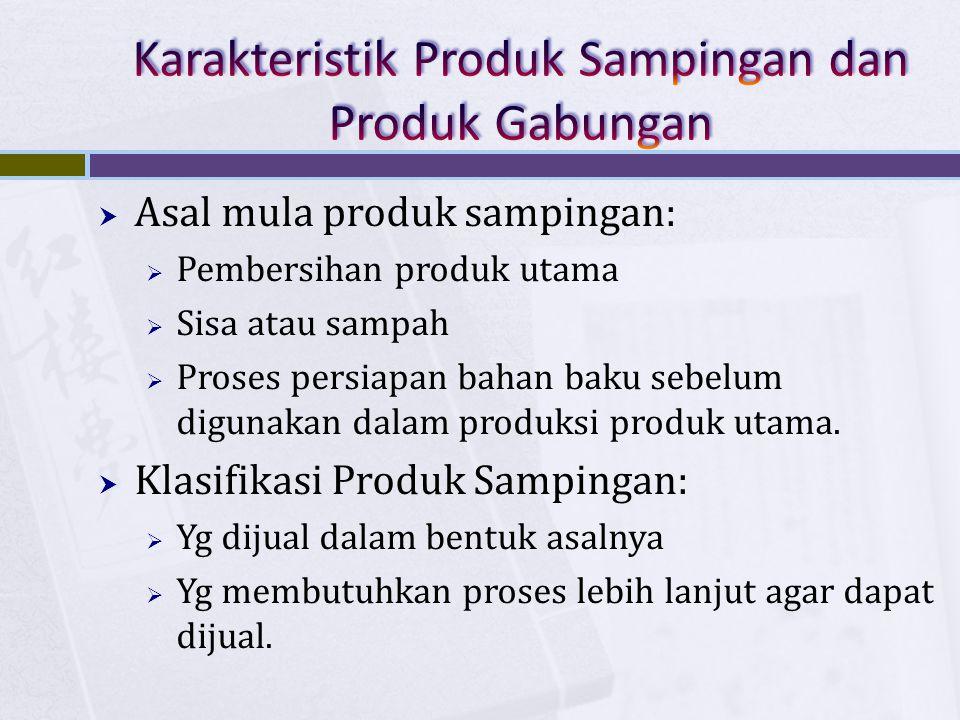  Asal mula produk sampingan:  Pembersihan produk utama  Sisa atau sampah  Proses persiapan bahan baku sebelum digunakan dalam produksi produk utam