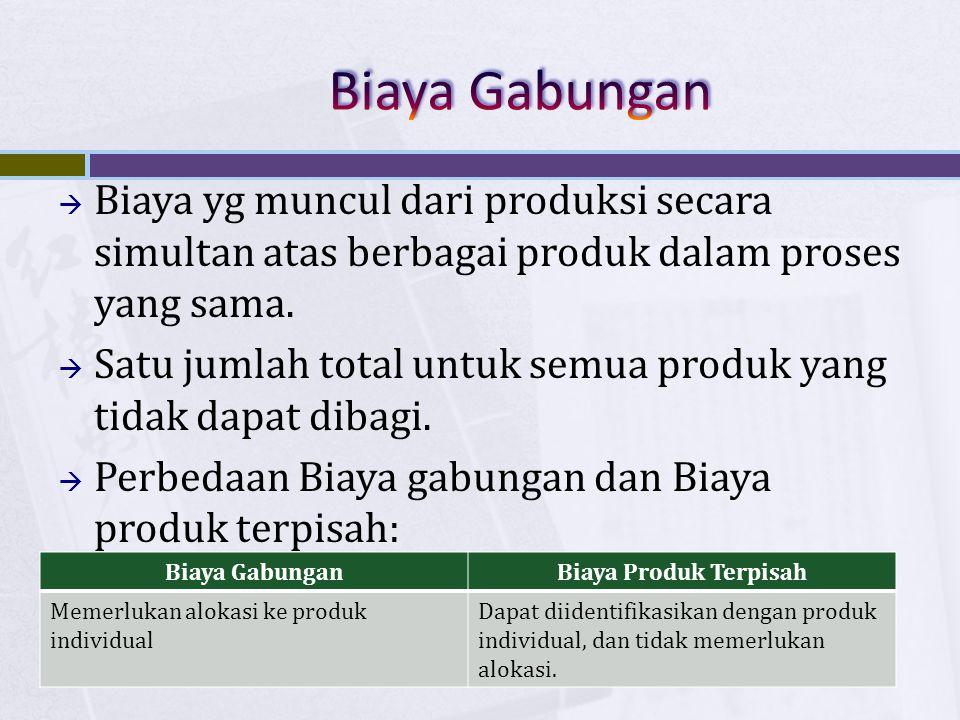  Biaya yg muncul dari produksi secara simultan atas berbagai produk dalam proses yang sama.  Satu jumlah total untuk semua produk yang tidak dapat d