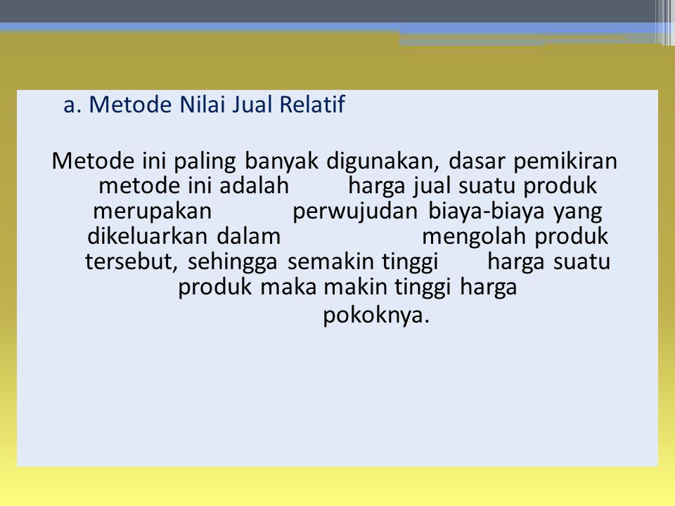 a. Metode Nilai Jual Relatif Metode ini paling banyak digunakan, dasar pemikiran metode ini adalahharga jual suatu produk merupakan perwujudan biaya-b