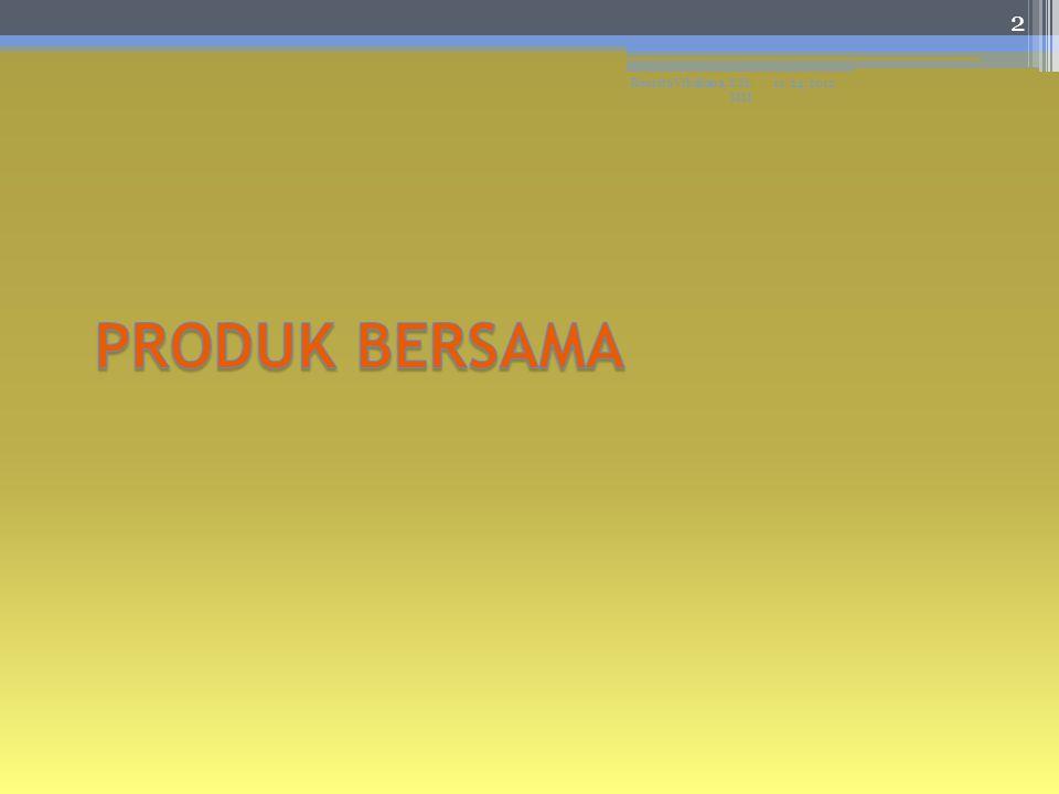 Metode Alokasi Biaya Produksi Bersama Metode alokasi biaya Metode harga pasar/ nilai jual hipotersi Harga jual diketahui pada titik pisah Harga jual tidak diketahui pada titik pisah Metode unit fisik Metode rata- rata sederhana Metode rata- rata tertimbang 11/24/2012Resista Vikaliana, S.Si.