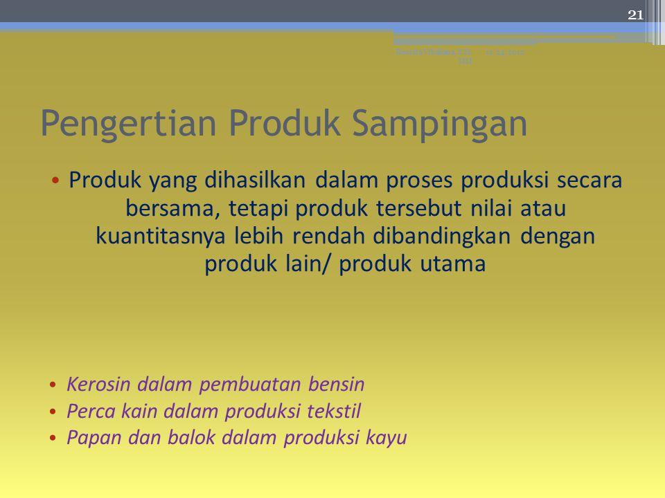 Pengertian Produk Sampingan Produk yang dihasilkan dalam proses produksi secara bersama, tetapi produk tersebut nilai atau kuantitasnya lebih rendah dibandingkan dengan produk lain/ produk utama Kerosin dalam pembuatan bensin Perca kain dalam produksi tekstil Papan dan balok dalam produksi kayu 11/24/2012Resista Vikaliana, S.Si.
