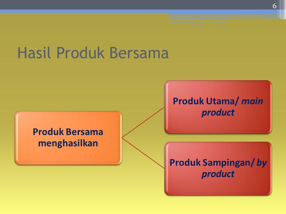 Produk Utama ▫ Produk yang dihasilkan dalam proses produksi secara bersama, namun mempunyai nilai atau kuantitas yang lebih besar dibandingkan produk lain atau produk sampingan Produk Sampingan ▫ Produk yang dihasilkan dalam proses produksi secara bersama tetapi produk tersebut nilai atau kuantitasnya lebih rendah dibandingkan dengan produk lain atau produk utama 11/24/2012Resista Vikaliana, S.Si.
