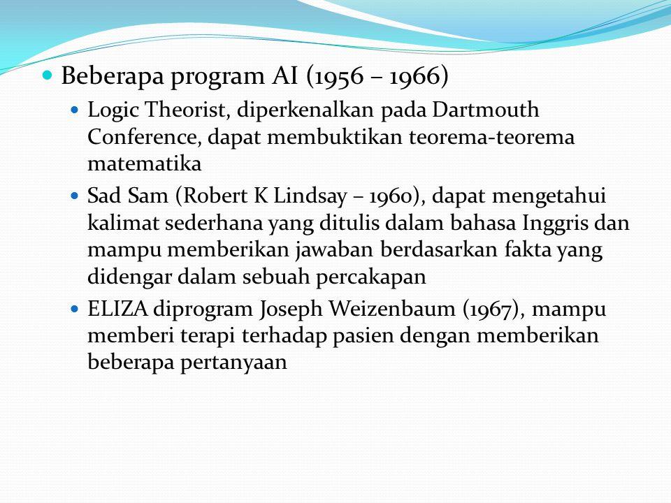 Beberapa program AI (1956 – 1966) Logic Theorist, diperkenalkan pada Dartmouth Conference, dapat membuktikan teorema-teorema matematika Sad Sam (Robert K Lindsay – 1960), dapat mengetahui kalimat sederhana yang ditulis dalam bahasa Inggris dan mampu memberikan jawaban berdasarkan fakta yang didengar dalam sebuah percakapan ELIZA diprogram Joseph Weizenbaum (1967), mampu memberi terapi terhadap pasien dengan memberikan beberapa pertanyaan