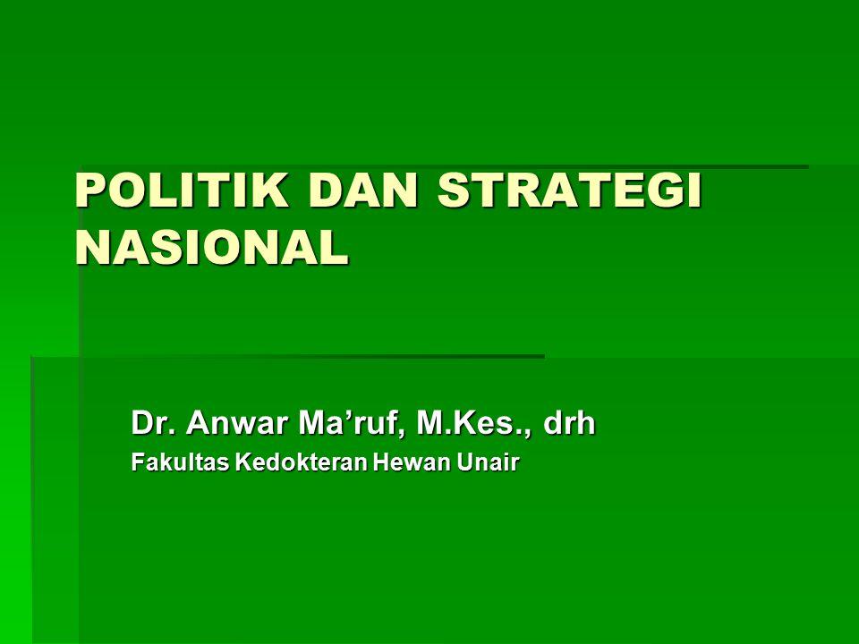 POLITIK DAN STRATEGI NASIONAL Dr. Anwar Ma'ruf, M.Kes., drh Fakultas Kedokteran Hewan Unair