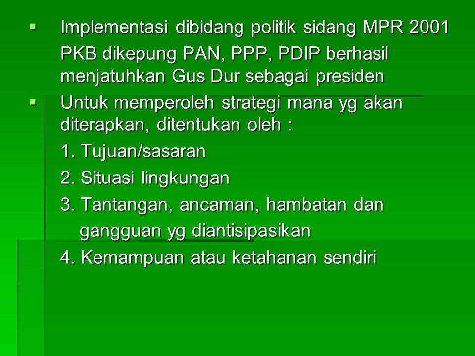 Implementasi dibidang politik sidang MPR 2001 PKB dikepung PAN, PPP, PDIP berhasil menjatuhkan Gus Dur sebagai presiden  Untuk memperoleh strategi mana yg akan diterapkan, ditentukan oleh : 1.