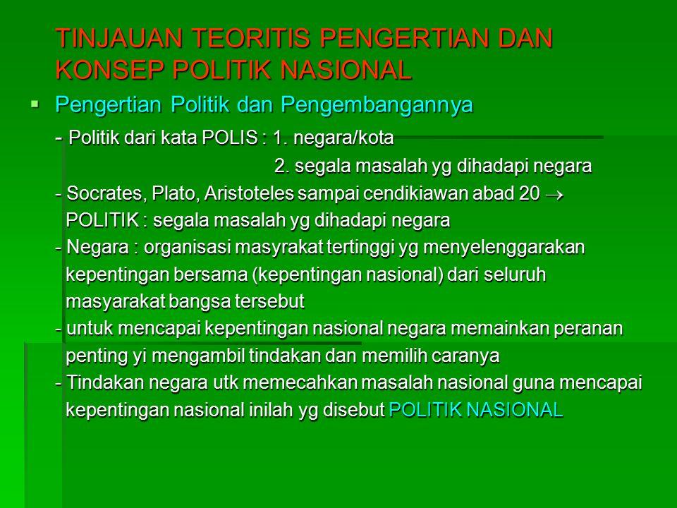 TINJAUAN TEORITIS PENGERTIAN DAN KONSEP POLITIK NASIONAL  Pengertian Politik dan Pengembangannya - Politik dari kata POLIS : 1.