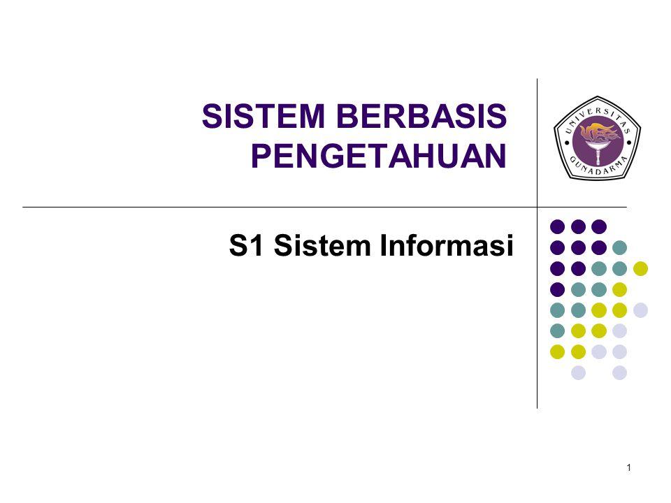 1 SISTEM BERBASIS PENGETAHUAN S1 Sistem Informasi