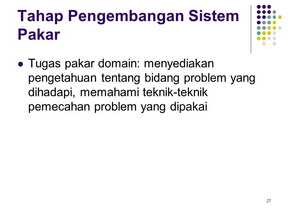 Tahap Pengembangan Sistem Pakar Tugas pakar domain: menyediakan pengetahuan tentang bidang problem yang dihadapi, memahami teknik-teknik pemecahan problem yang dipakai 27