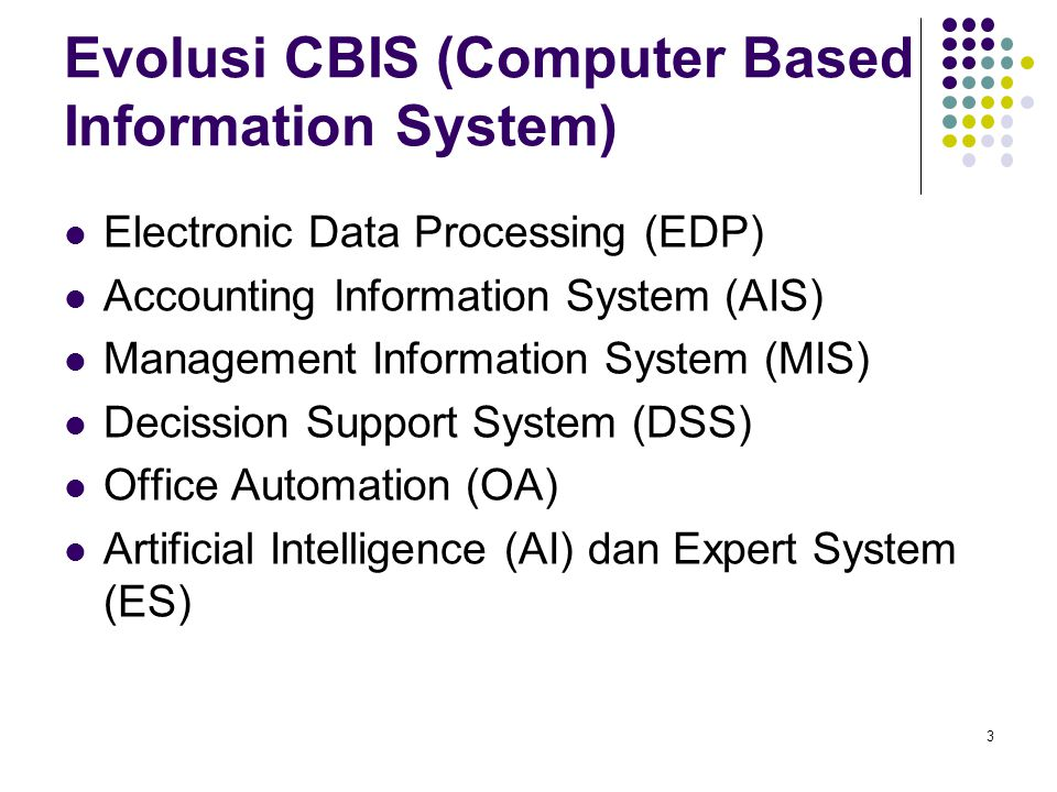 Evolusi CBIS (Computer Based Information System) Electronic Data Processing (EDP) Accounting Information System (AIS) Management Information System (M