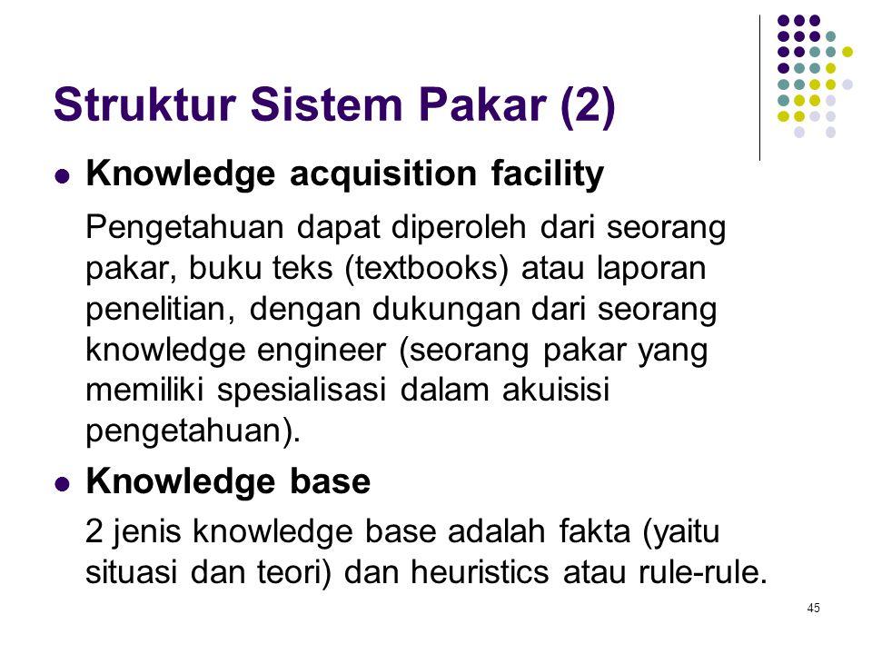 Struktur Sistem Pakar (2) Knowledge acquisition facility Pengetahuan dapat diperoleh dari seorang pakar, buku teks (textbooks) atau laporan penelitian, dengan dukungan dari seorang knowledge engineer (seorang pakar yang memiliki spesialisasi dalam akuisisi pengetahuan).