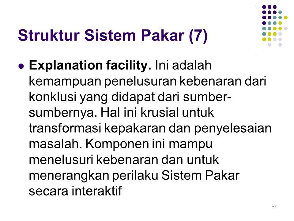 Struktur Sistem Pakar (7) Explanation facility.