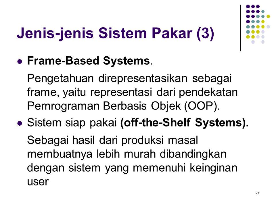 Jenis-jenis Sistem Pakar (3) Frame-Based Systems. Pengetahuan direpresentasikan sebagai frame, yaitu representasi dari pendekatan Pemrograman Berbasis