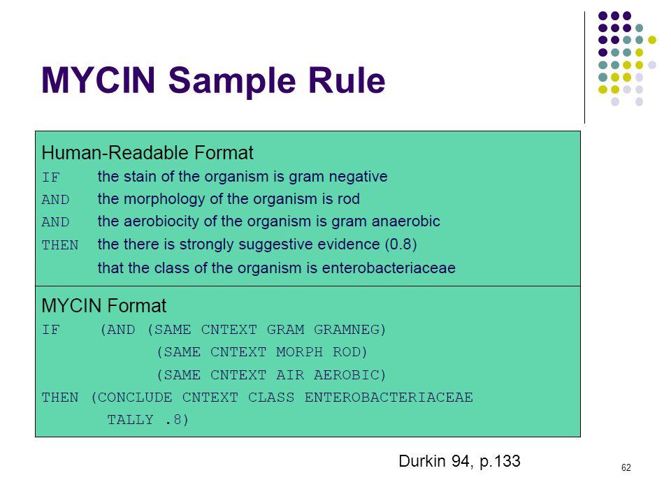 MYCIN Sample Rule 62 Durkin 94, p.133