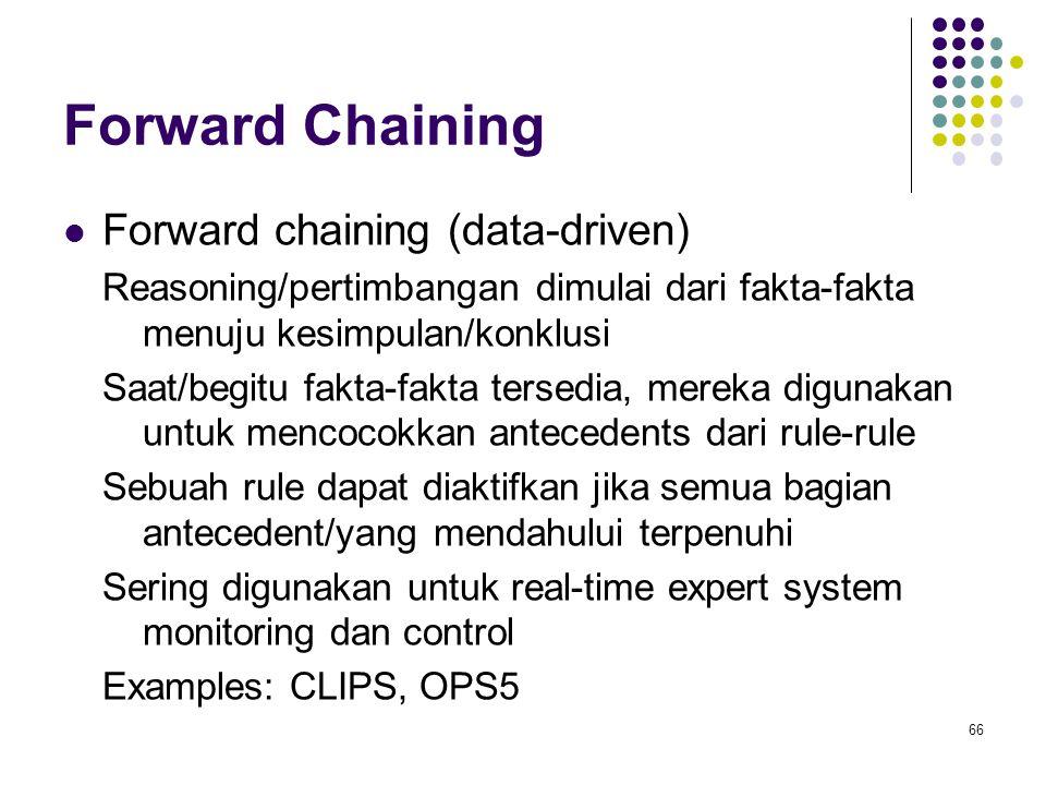 Forward Chaining Forward chaining (data-driven) Reasoning/pertimbangan dimulai dari fakta-fakta menuju kesimpulan/konklusi Saat/begitu fakta-fakta tersedia, mereka digunakan untuk mencocokkan antecedents dari rule-rule Sebuah rule dapat diaktifkan jika semua bagian antecedent/yang mendahului terpenuhi Sering digunakan untuk real-time expert system monitoring dan control Examples: CLIPS, OPS5 66