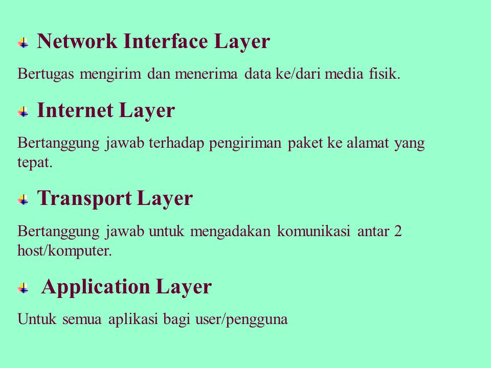 Network Interface Layer (Ethernet, X25, SLIP, PPP, dll) Internet Layer (IP, ICMP, ARP) Transport Layer (TCP, UDP) Application Layer (SMTP, FTP, HTTP, dll)