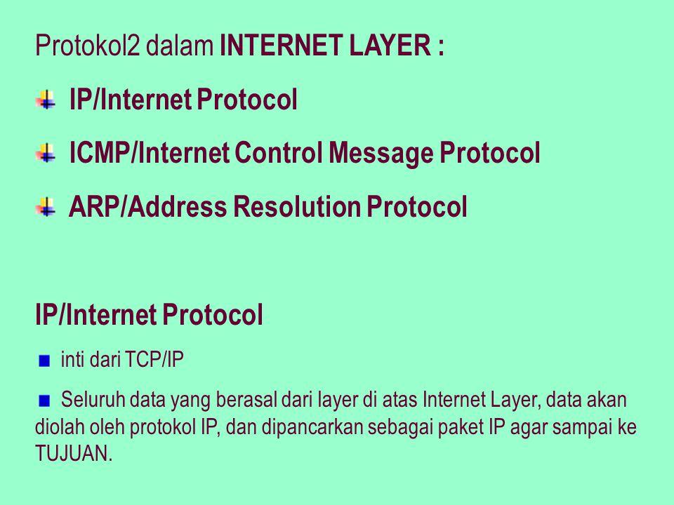 Sifat-sifat IP: Unreliable, connectionless, datagram delivery service Unreliable Ketidakandalan/IP tidak menjamin data yang dikirim = data yang diterima.