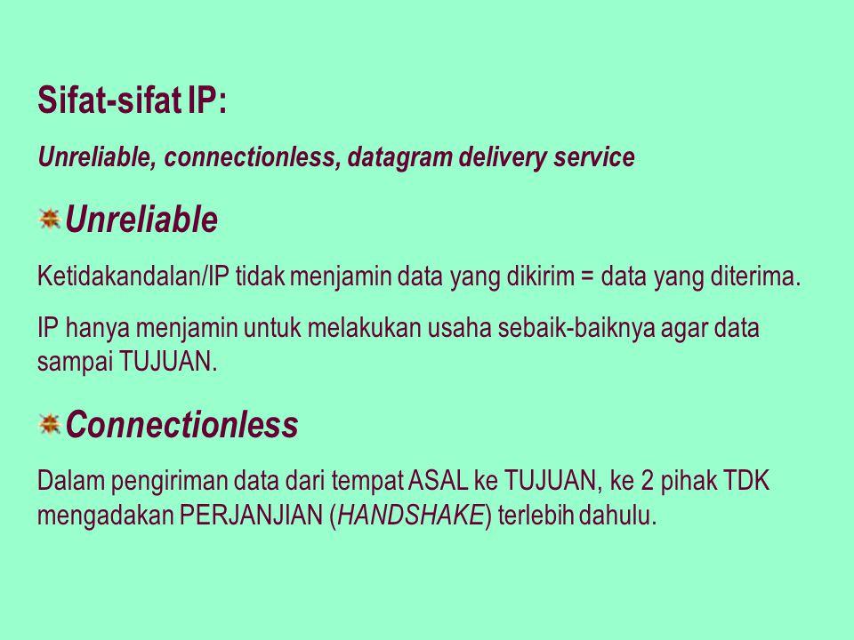Datagram Delivery Service Setiap data yang dikirim INDEPENDEN terhadap data yang lain.