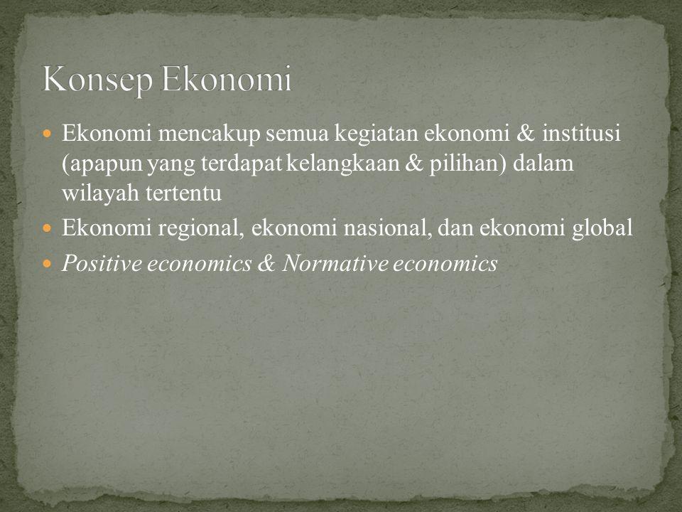 Ekonomi mencakup semua kegiatan ekonomi & institusi (apapun yang terdapat kelangkaan & pilihan) dalam wilayah tertentu Ekonomi regional, ekonomi nasional, dan ekonomi global Positive economics & Normative economics