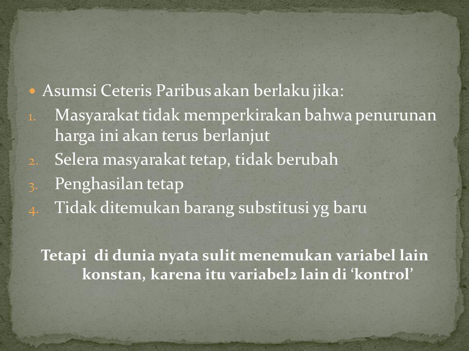 Asumsi Ceteris Paribus akan berlaku jika: 1.