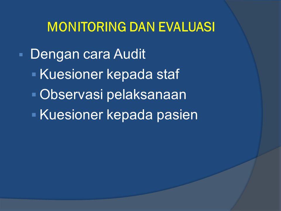 MONITORING DAN EVALUASI  Dengan cara Audit  Kuesioner kepada staf  Observasi pelaksanaan  Kuesioner kepada pasien