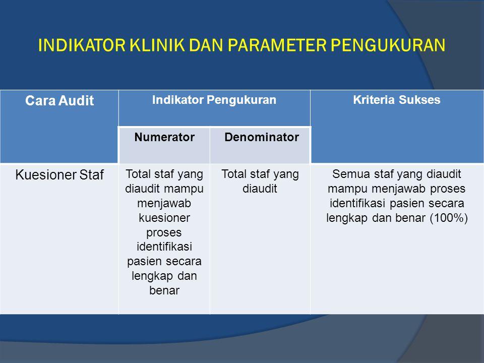 INDIKATOR KLINIK DAN PARAMETER PENGUKURAN Cara Audit Indikator PengukuranKriteria Sukses Numerator Denominator Kuesioner Staf Total staf yang diaudit