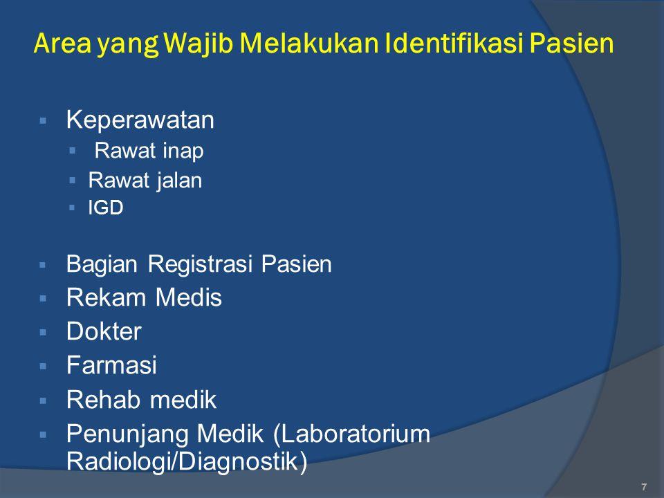 Area yang Wajib Melakukan Identifikasi Pasien  Keperawatan  Rawat inap  Rawat jalan  IGD  Bagian Registrasi Pasien  Rekam Medis  Dokter  Farma