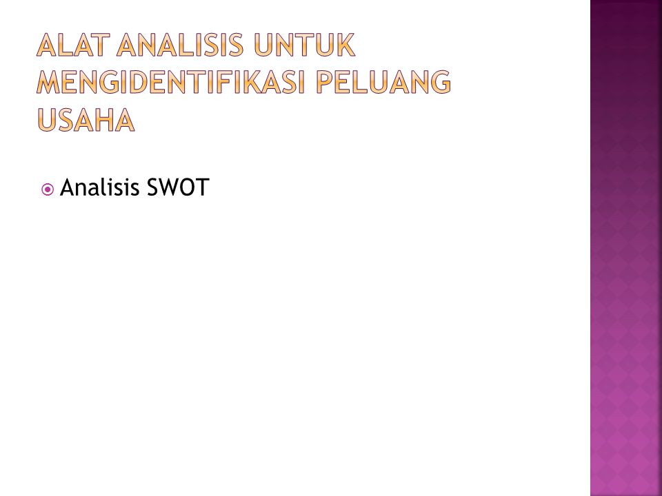  Analisis SWOT