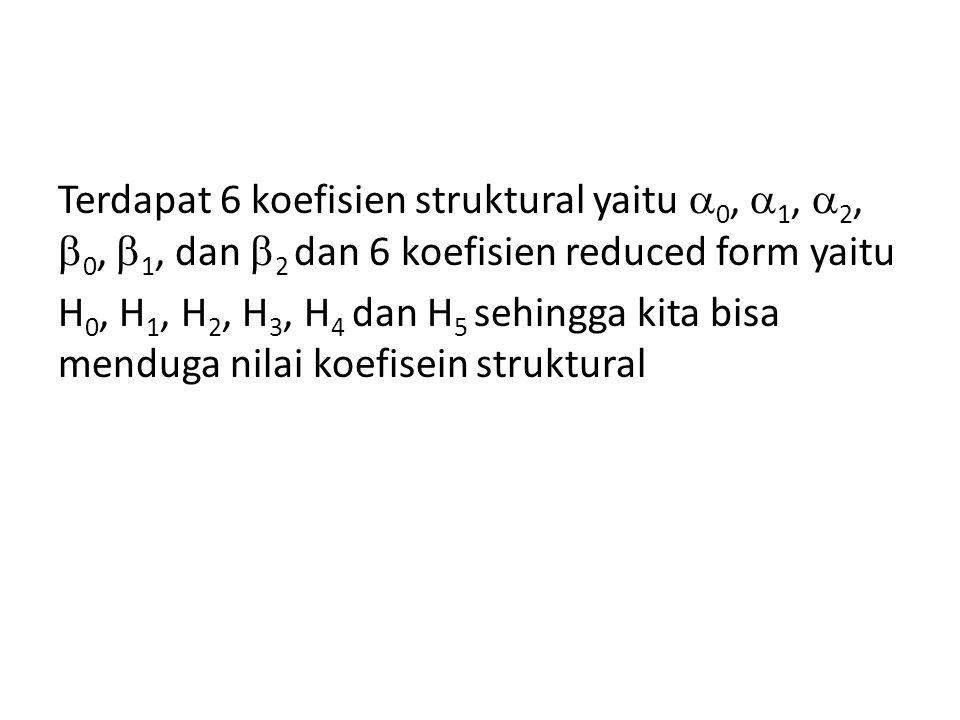 Terdapat 6 koefisien struktural yaitu  0,  1,  2,  0,  1, dan  2 dan 6 koefisien reduced form yaitu H 0, H 1, H 2, H 3, H 4 dan H 5 sehingga kit