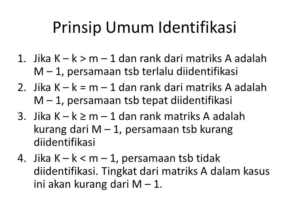 Prinsip Umum Identifikasi 1.Jika K – k > m – 1 dan rank dari matriks A adalah M – 1, persamaan tsb terlalu diidentifikasi 2.Jika K – k = m – 1 dan ran