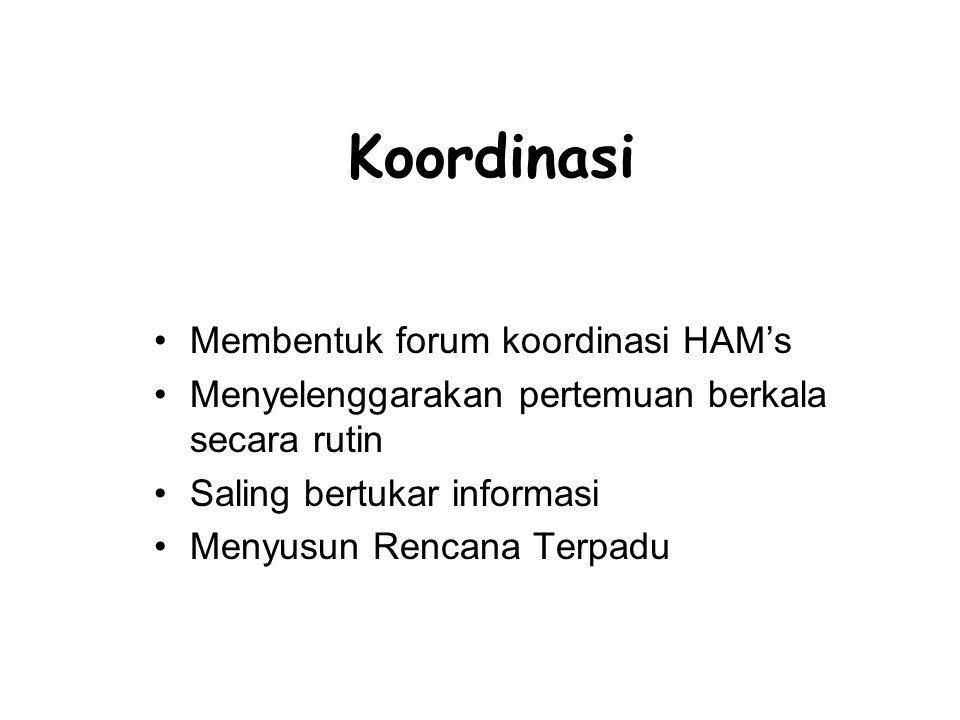 Koordinasi Membentuk forum koordinasi HAM's Menyelenggarakan pertemuan berkala secara rutin Saling bertukar informasi Menyusun Rencana Terpadu